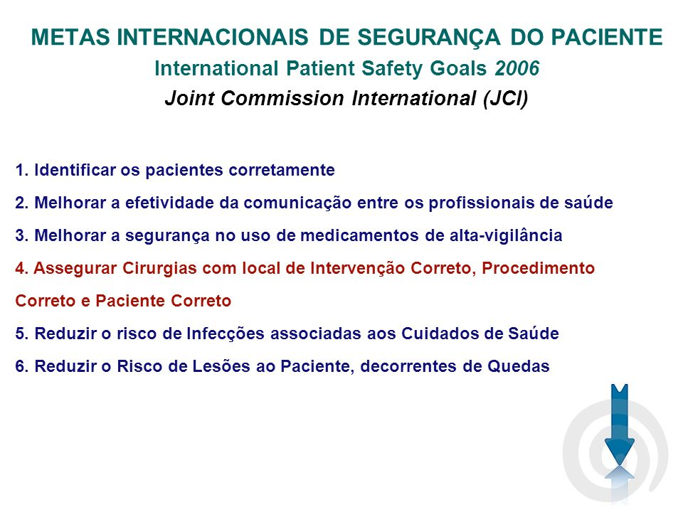 METAS INTERNACIONAIS DE SEGURANÇA DO PACIENTE International Patient Safety Goals 2006 Joint Commission International (JCI) 1.
