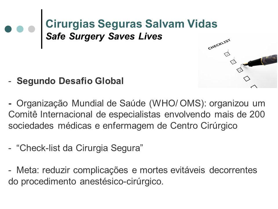 Cirurgias Seguras Salvam Vidas Safe Surgery Saves Lives - Segundo Desafio Global - Organização Mundial de Saúde (WHO/ OMS): organizou um Comitê Intern