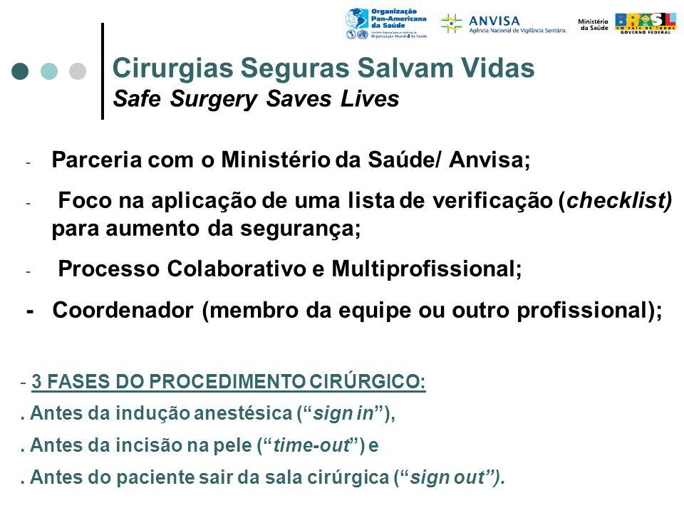 - Parceria com o Ministério da Saúde/ Anvisa; - Foco na aplicação de uma lista de verificação (checklist) para aumento da segurança; - Processo Colabo