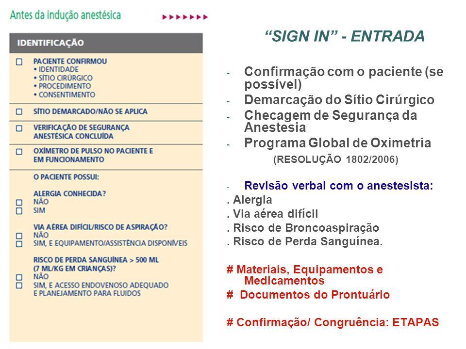 SIGN IN - ENTRADA - Confirmação com o paciente (se possível) - Demarcação do Sítio Cirúrgico - Checagem de Segurança da Anestesia - Programa Global de