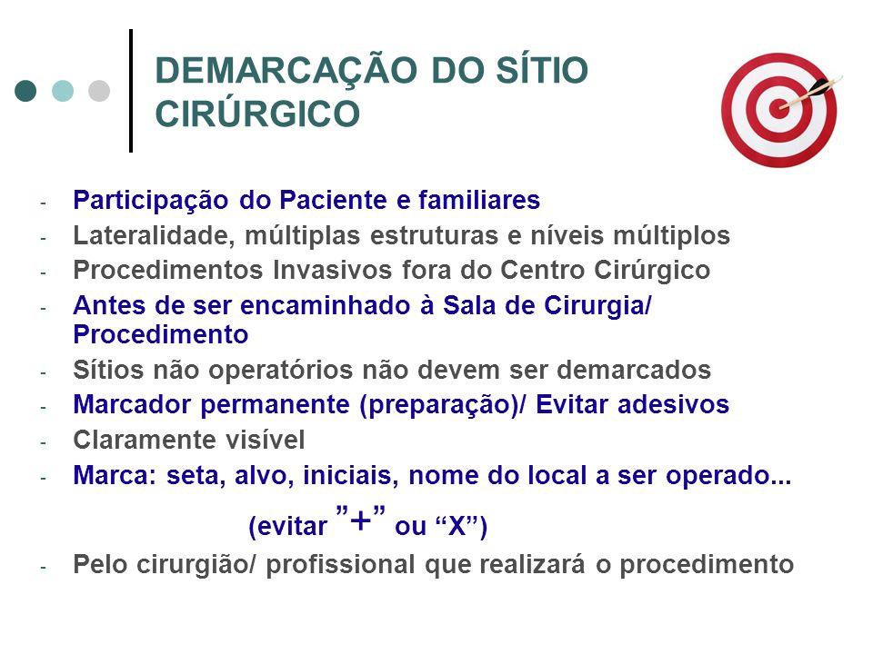 DEMARCAÇÃO DO SÍTIO CIRÚRGICO - Participação do Paciente e familiares - Lateralidade, múltiplas estruturas e níveis múltiplos - Procedimentos Invasivo