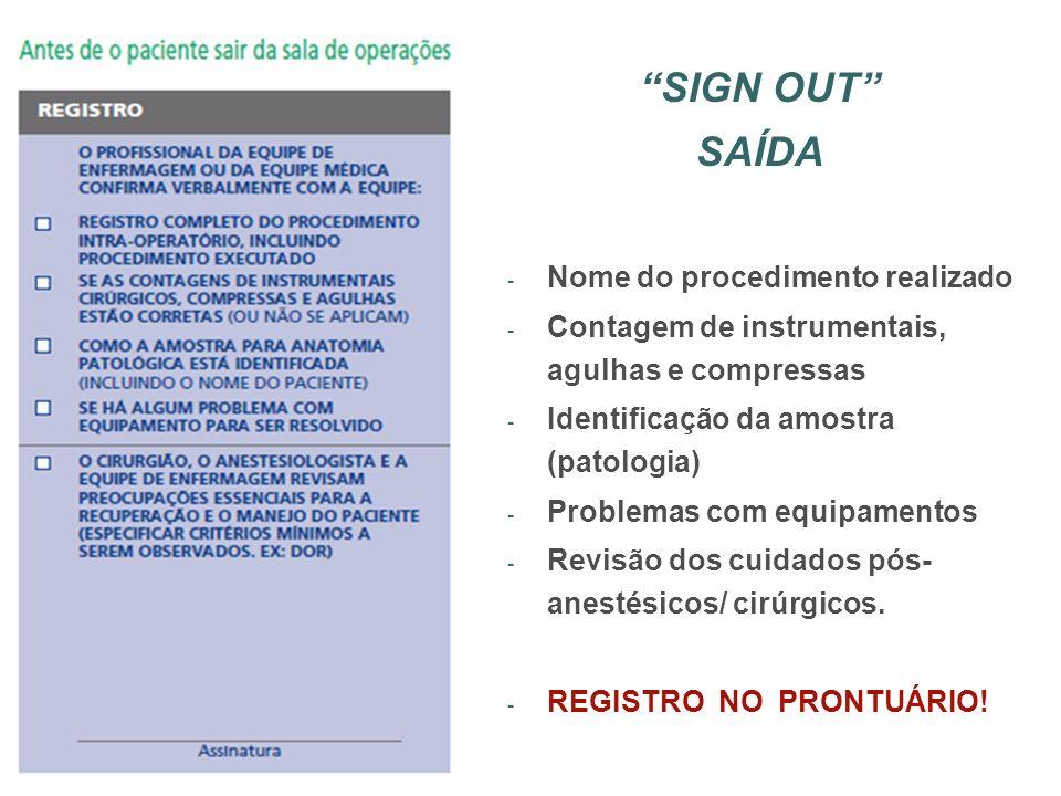 SIGN OUT SAÍDA - Nome do procedimento realizado - Contagem de instrumentais, agulhas e compressas - Identificação da amostra (patologia) - Problemas c