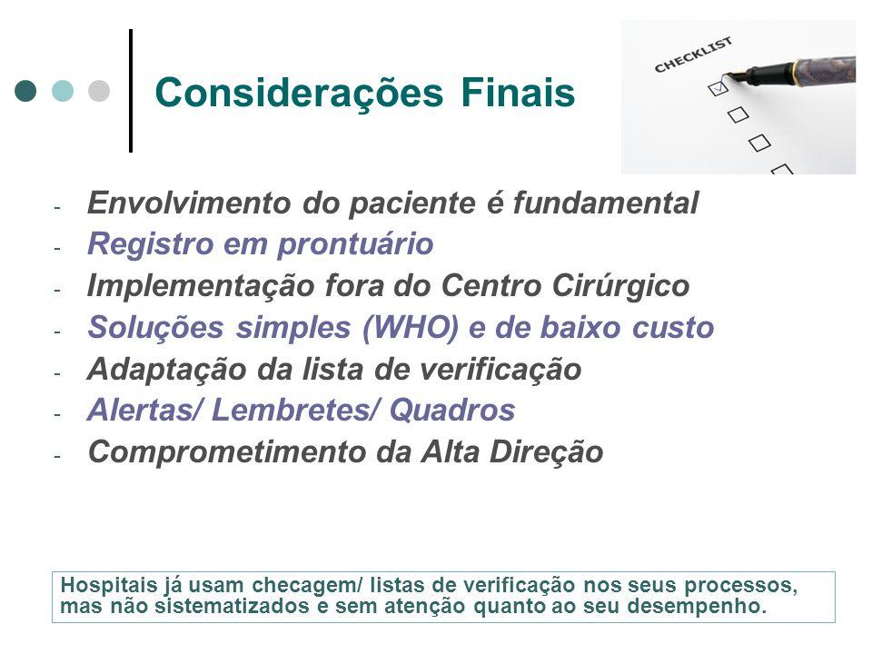 Considerações Finais - Envolvimento do paciente é fundamental - Registro em prontuário - Implementação fora do Centro Cirúrgico - Soluções simples (WH