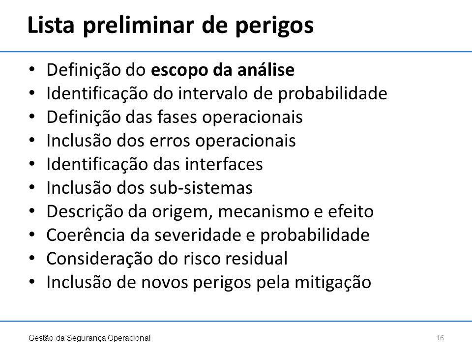 Lista preliminar de perigos Definição do escopo da análise Identificação do intervalo de probabilidade Definição das fases operacionais Inclusão dos e
