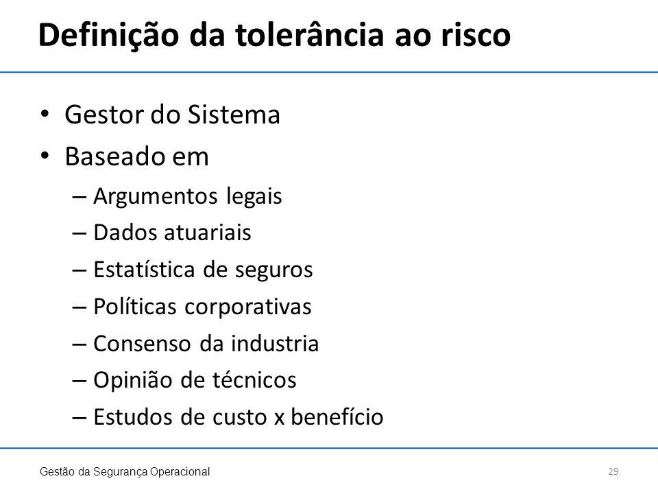 Definição da tolerância ao risco Gestor do Sistema Baseado em – Argumentos legais – Dados atuariais – Estatística de seguros – Políticas corporativas