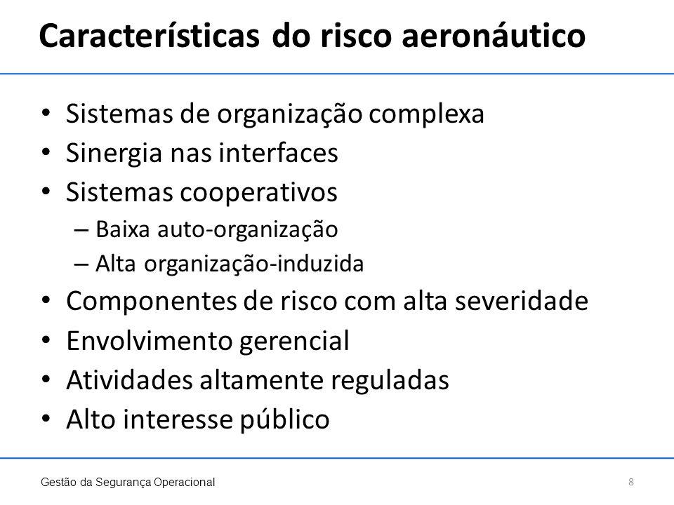 Características do risco aeronáutico Sistemas de organização complexa Sinergia nas interfaces Sistemas cooperativos – Baixa auto-organização – Alta or