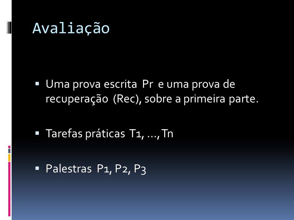 Avaliação Uma prova escrita Pr e uma prova de recuperação (Rec), sobre a primeira parte. Tarefas práticas T1,..., Tn Palestras P1, P2, P3