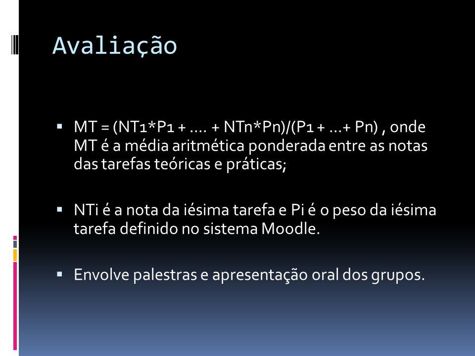 Avaliação MT = (NT1*P1 +.... + NTn*Pn)/(P1 +...+ Pn), onde MT é a média aritmética ponderada entre as notas das tarefas teóricas e práticas; NTi é a n