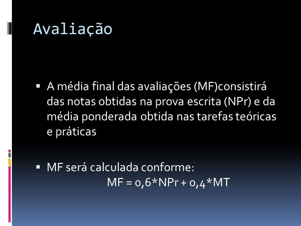 Avaliação Caso MF >= 6,0 o aluno estará aprovado em primeira instância e sua NF será NF = MF.
