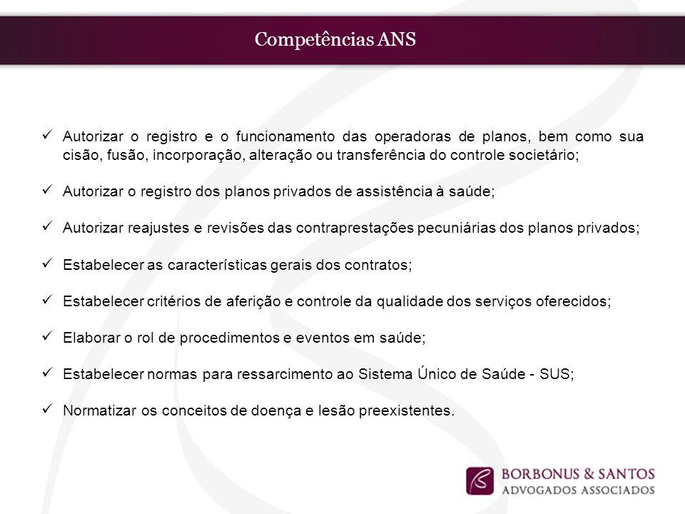 Competências ANS Autorizar o registro e o funcionamento das operadoras de planos, bem como sua cisão, fusão, incorporação, alteração ou transferência