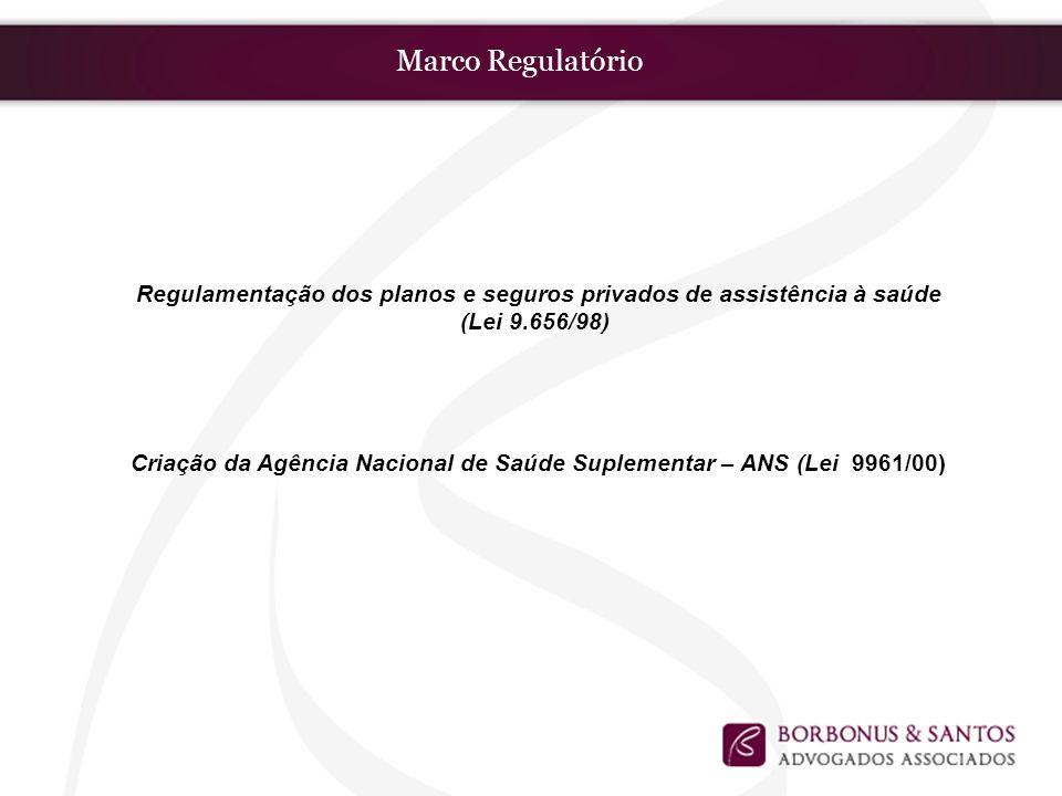 Marco Regulatório Regulamentação dos planos e seguros privados de assistência à saúde (Lei 9.656/98) Criação da Agência Nacional de Saúde Suplementar