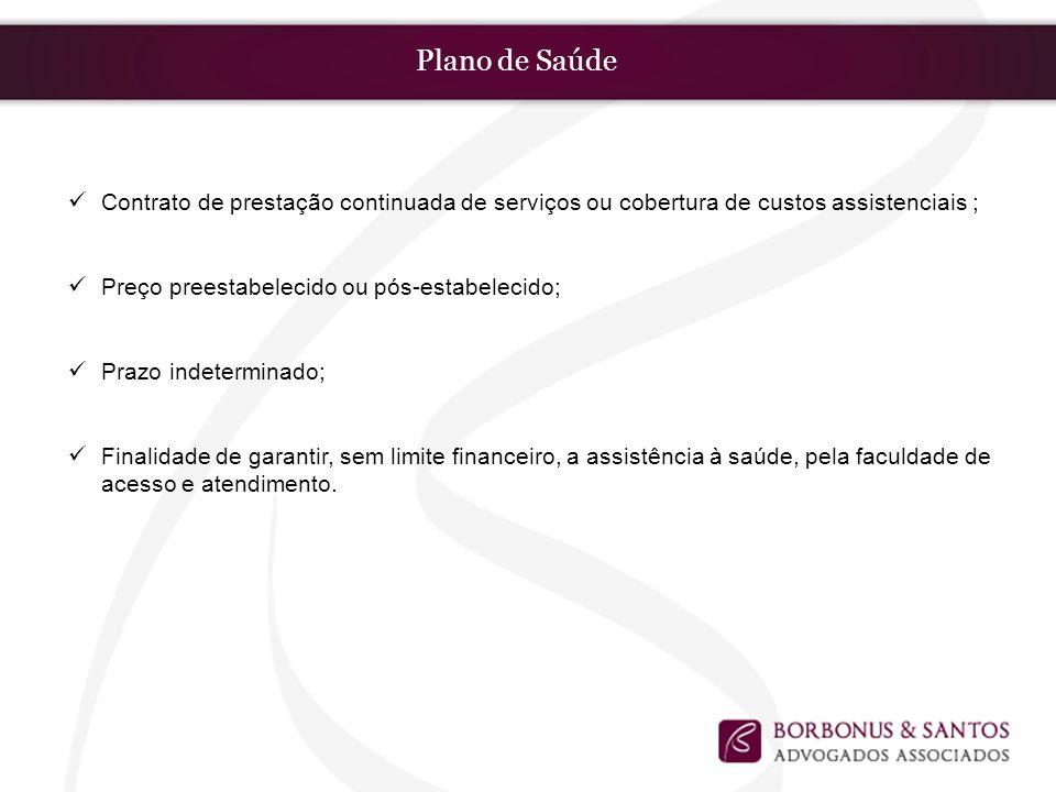 Plano de Saúde Contrato de prestação continuada de serviços ou cobertura de custos assistenciais ; Preço preestabelecido ou pós-estabelecido; Prazo in