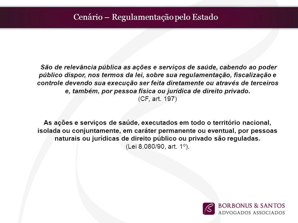 Cenário – Regulamentação pelo Estado São de relevância pública as ações e serviços de saúde, cabendo ao poder público dispor, nos termos da lei, sobre