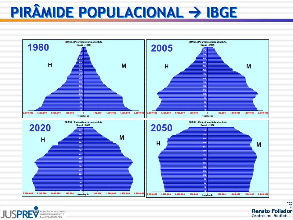 1980 2005 20202050 H M H M H M HM PIRÂMIDE POPULACIONAL IBGE