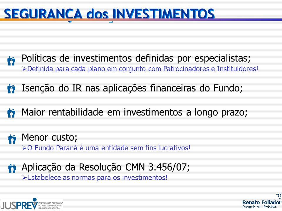 Políticas de investimentos definidas por especialistas; Definida para cada plano em conjunto com Patrocinadores e Instituidores! Isenção do IR nas apl