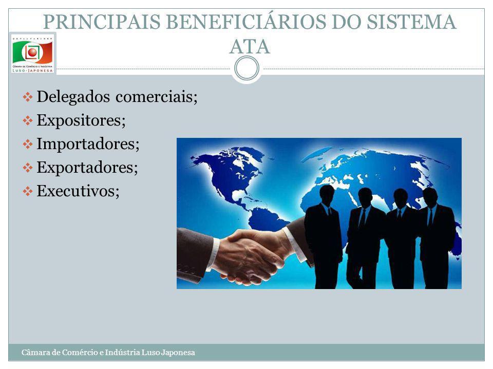 PRINCIPAIS BENEFICIÁRIOS DO SISTEMA ATA Delegados comerciais; Expositores; Importadores; Exportadores; Executivos; Câmara de Comércio e Indústria Luso