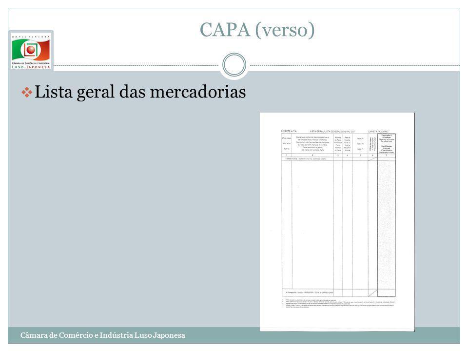 CAPA (verso) Lista geral das mercadorias Câmara de Comércio e Indústria Luso Japonesa