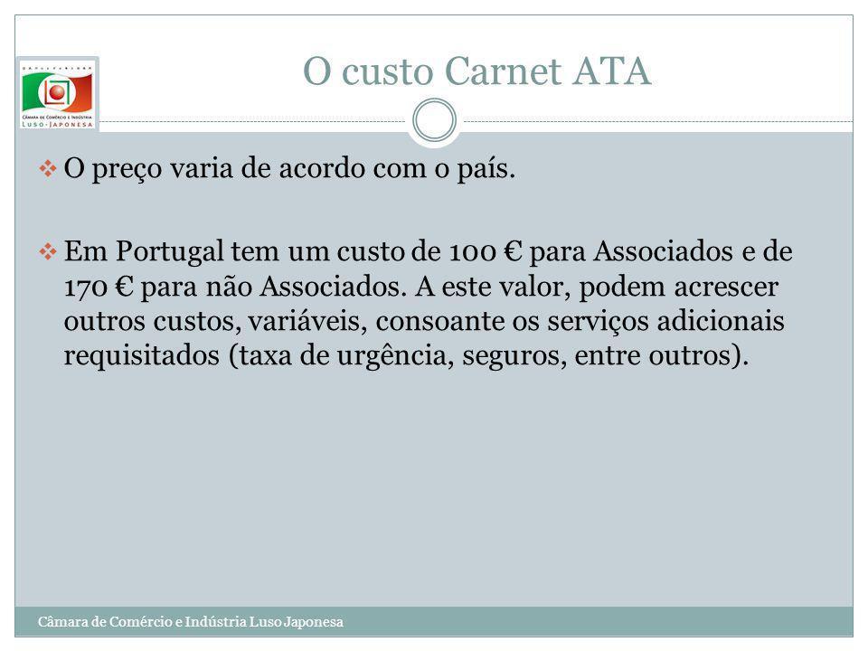O custo Carnet ATA O preço varia de acordo com o país. Em Portugal tem um custo de 100 para Associados e de 170 para não Associados. A este valor, pod
