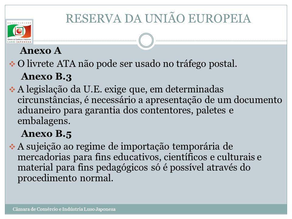 RESERVA DA UNIÃO EUROPEIA Anexo A O livrete ATA não pode ser usado no tráfego postal. Anexo B.3 A legislação da U.E. exige que, em determinadas circun