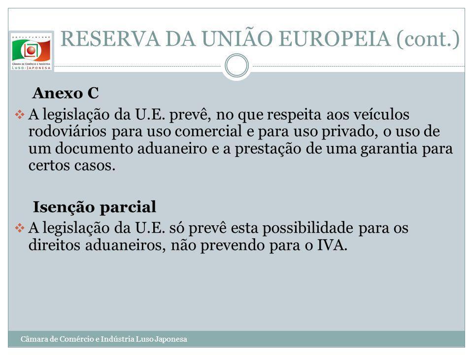 RESERVA DA UNIÃO EUROPEIA (cont.) Anexo C A legislação da U.E. prevê, no que respeita aos veículos rodoviários para uso comercial e para uso privado,
