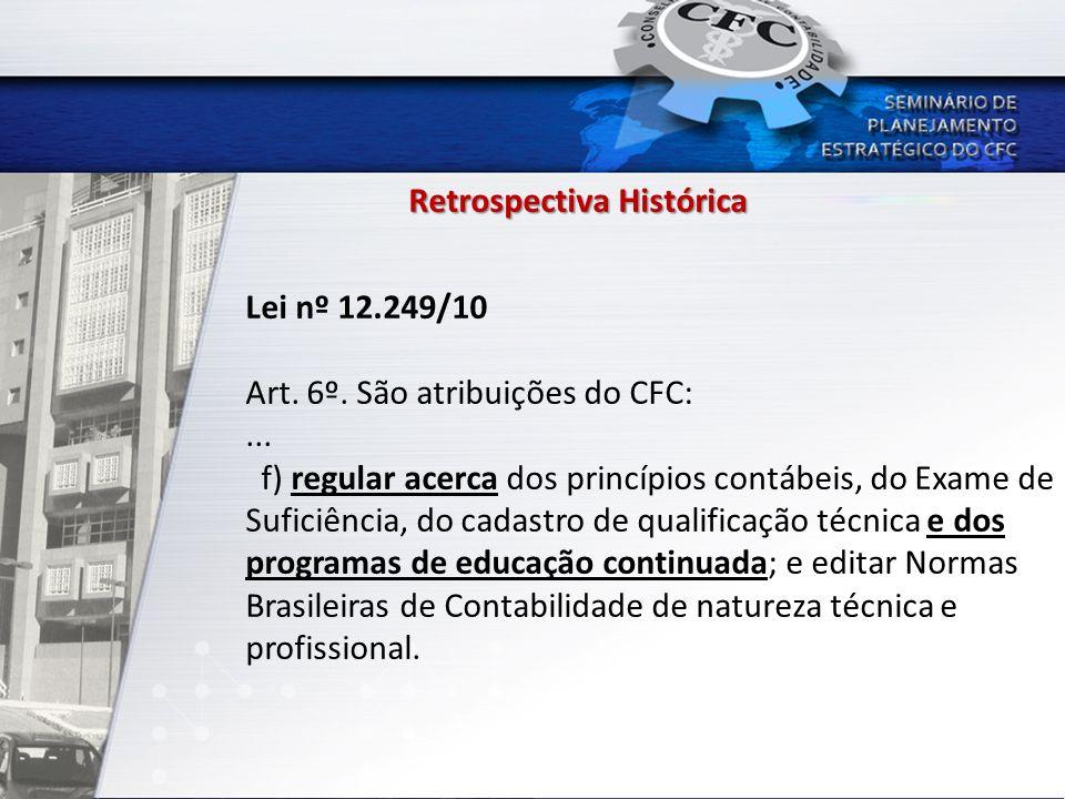 Retrospectiva Histórica Lei nº 12.249/10 Art. 6º. São atribuições do CFC:... f) regular acerca dos princípios contábeis, do Exame de Suficiência, do c