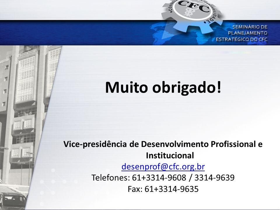 Muito obrigado! Vice-presidência de Desenvolvimento Profissional e Institucional desenprof@cfc.org.br Telefones: 61+3314-9608 / 3314-9639 Fax: 61+3314
