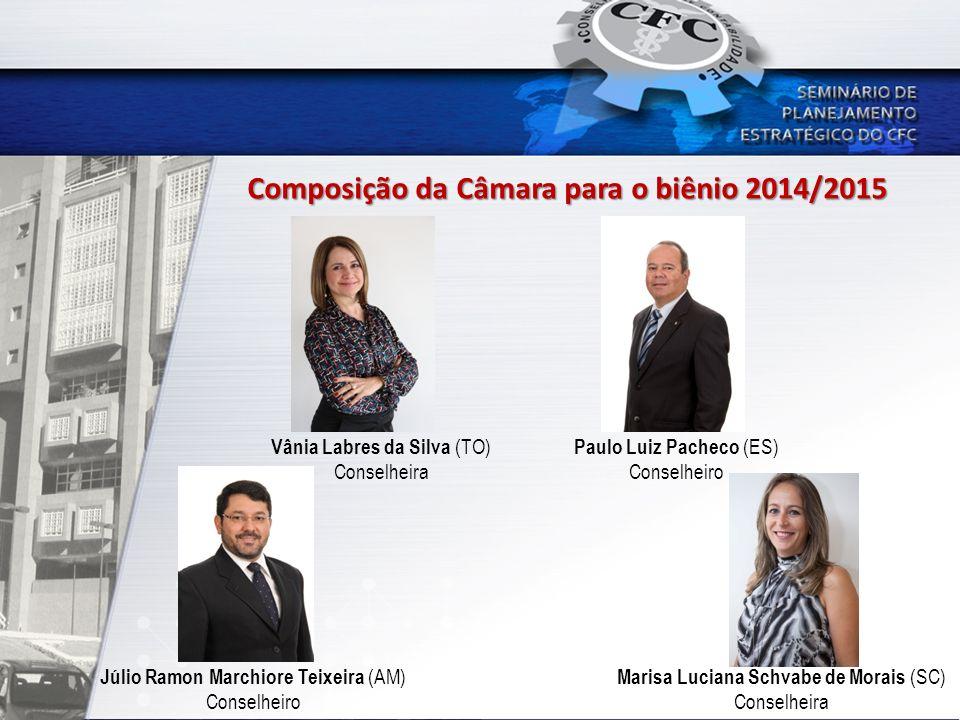 Composição da Câmara para o biênio 2014/2015 Júlio Ramon Marchiore Teixeira (AM) Conselheiro Vânia Labres da Silva (TO) Conselheira Paulo Luiz Pacheco