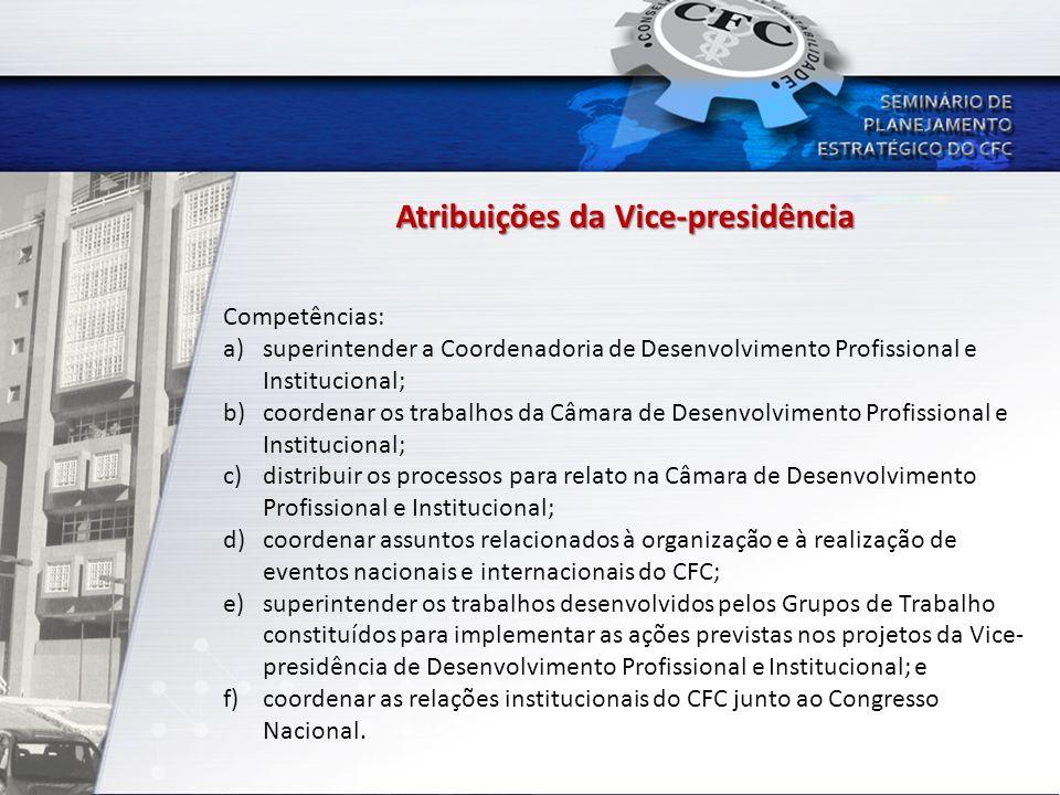 Atribuições da Vice-presidência Competências: a)superintender a Coordenadoria de Desenvolvimento Profissional e Institucional; b)coordenar os trabalho