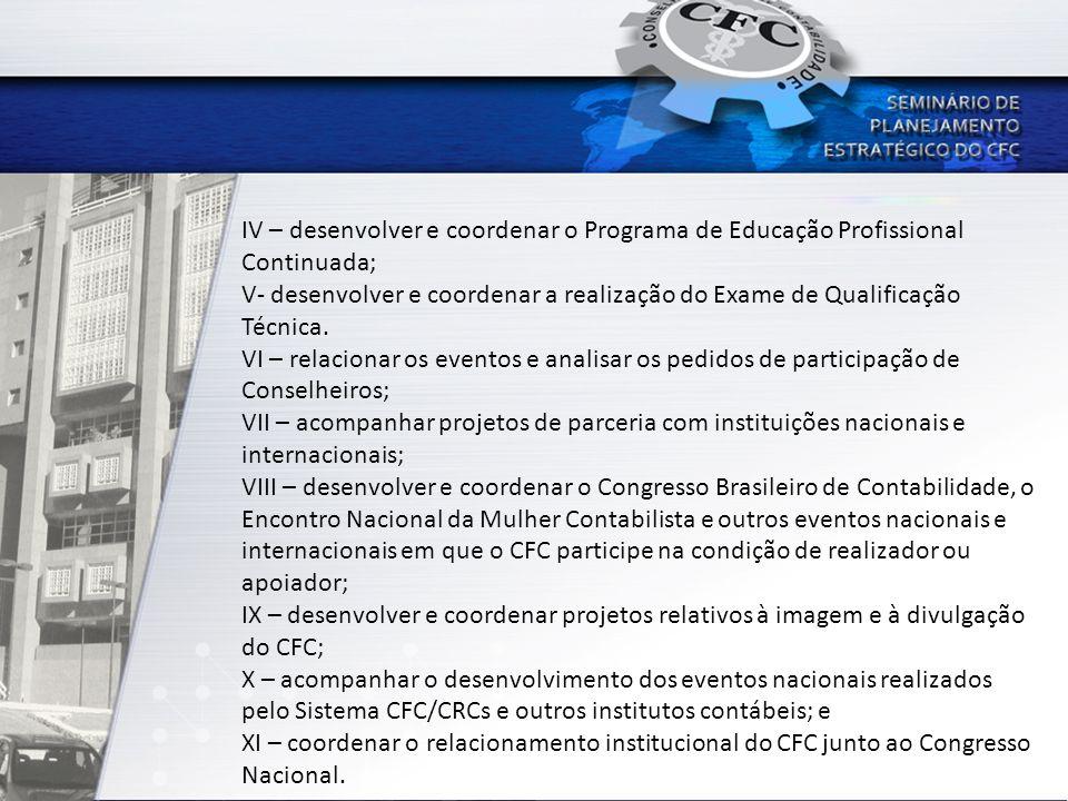 Comissões vinculadas à Vice-presidência de Desenvolvimento Profissional e Institucional Comissão de Educação Profissional Continuada (CEPC-CFC); Comissão Administradora do Exame de Qualificação Técnica (CAE); Comissão para analisar os processos de autorização, reconhecimento e renovação de reconhecimento de Cursos da área de Contabilidade (Emec); Comissão para elaboração de conteúdos do Programa de Gestão e Contabilidade (PGC); Comissão Gestora dos Programas de Mestrado e Doutorado realizados em parceria entre o CFC, a FBC e Instituições de Ensino superior nacionais e internacionais.