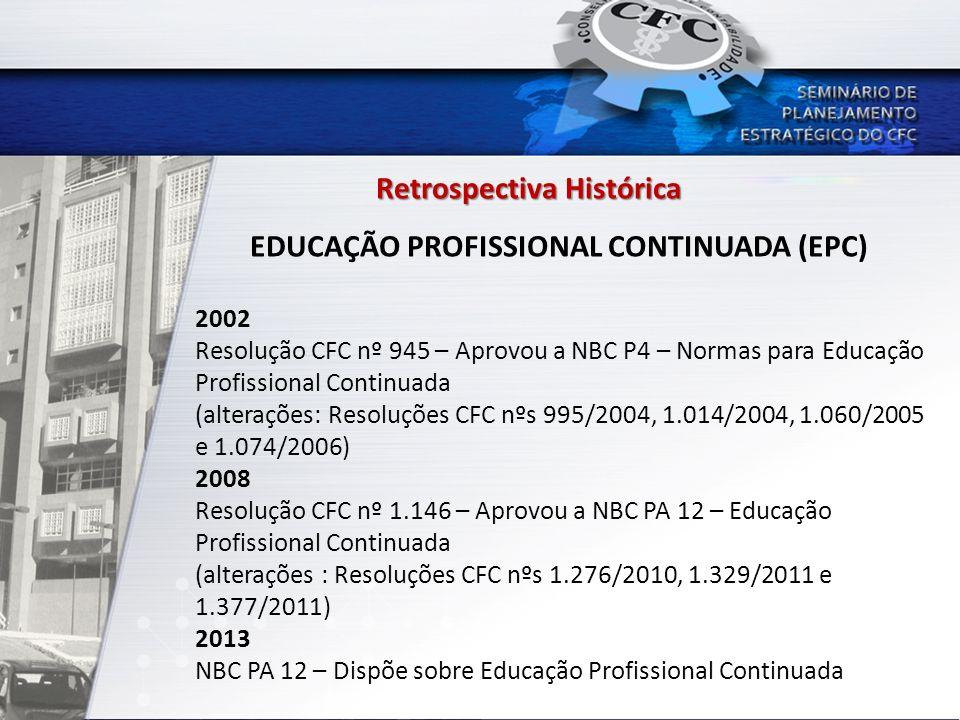 Retrospectiva Histórica EDUCAÇÃO PROFISSIONAL CONTINUADA (EPC) 2002 Resolução CFC nº 945 – Aprovou a NBC P4 – Normas para Educação Profissional Contin