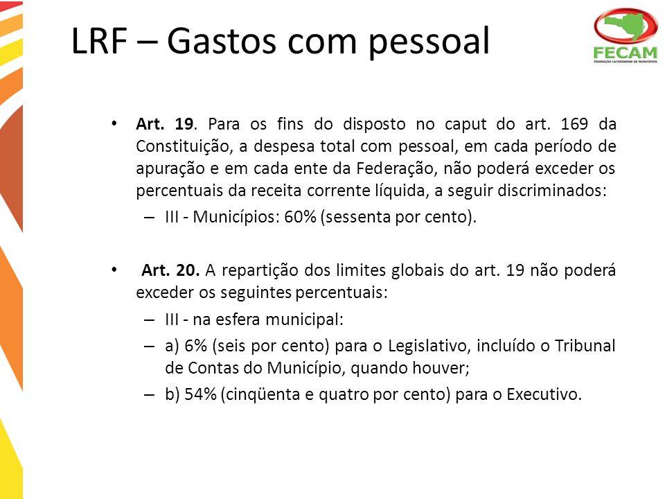 LRF – Gastos com pessoal Art. 19. Para os fins do disposto no caput do art. 169 da Constituição, a despesa total com pessoal, em cada período de apura