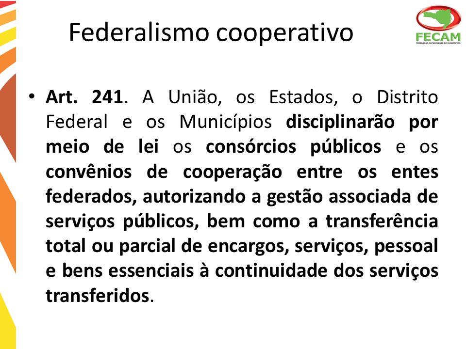 Federalismo cooperativo Art. 241. A União, os Estados, o Distrito Federal e os Municípios disciplinarão por meio de lei os consórcios públicos e os co