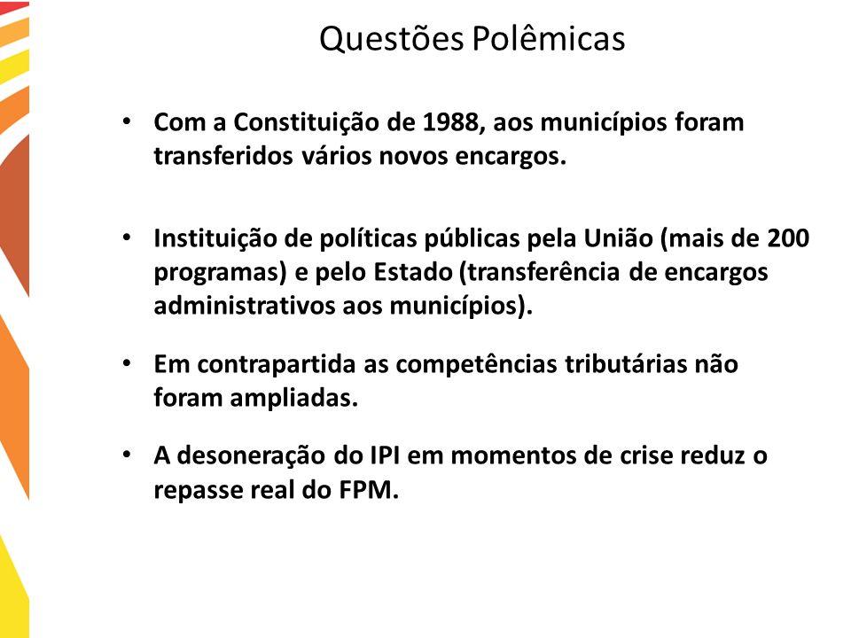 Questões Polêmicas Com a Constituição de 1988, aos municípios foram transferidos vários novos encargos. Instituição de políticas públicas pela União (