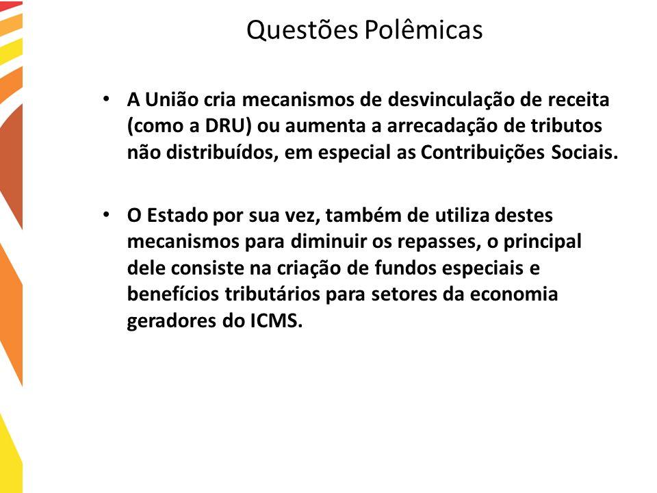 Questões Polêmicas A União cria mecanismos de desvinculação de receita (como a DRU) ou aumenta a arrecadação de tributos não distribuídos, em especial