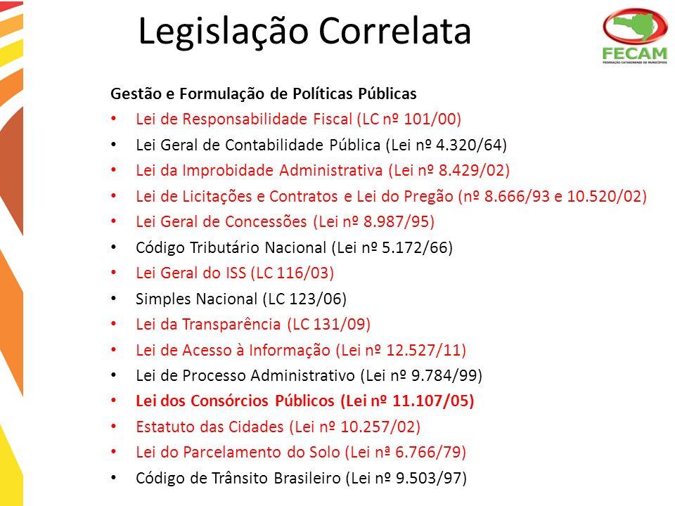 Gestão e Formulação de Políticas Públicas Lei de Responsabilidade Fiscal (LC nº 101/00) Lei Geral de Contabilidade Pública (Lei nº 4.320/64) Lei da Im