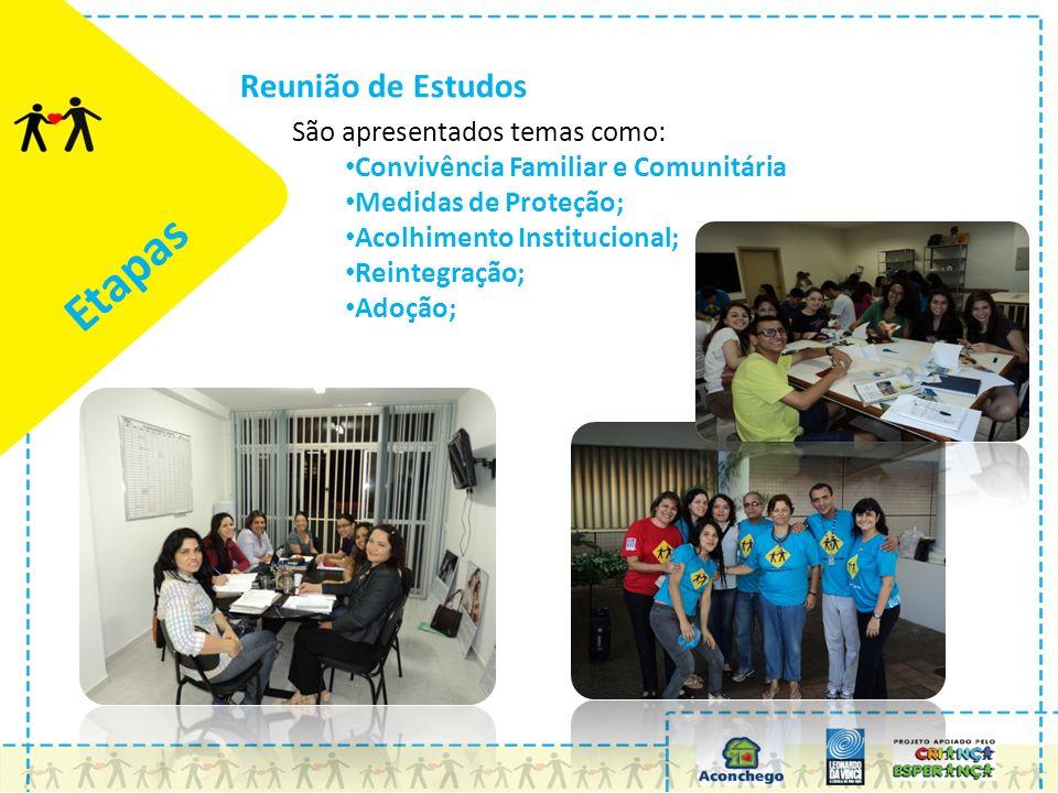 Etapas Reunião de Estudos São apresentados temas como: Convivência Familiar e Comunitária Medidas de Proteção; Acolhimento Institucional; Reintegração; Adoção;