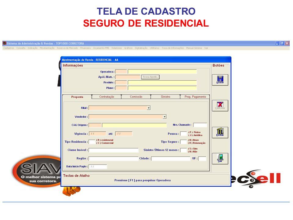 TELA DE CADASTRO SEGURO DE RESIDENCIAL