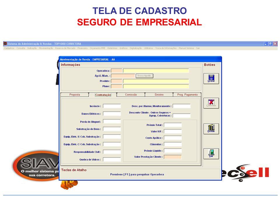 TELA DE CADASTRO SEGURO DE EMPRESARIAL