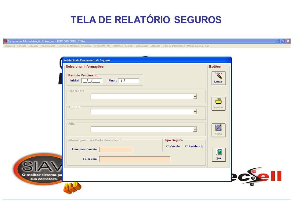 TELA DE RELATÓRIO SEGUROS