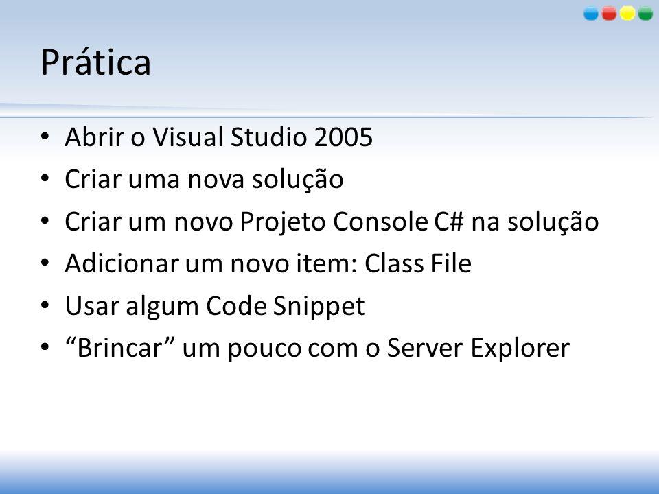 Prática Abrir o Visual Studio 2005 Criar uma nova solução Criar um novo Projeto Console C# na solução Adicionar um novo item: Class File Usar algum Co