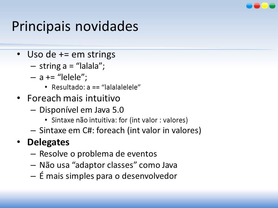 Principais novidades Uso de += em strings – string a = lalala; – a += lelele; Resultado: a == lalalalelele Foreach mais intuitivo – Disponível em Java