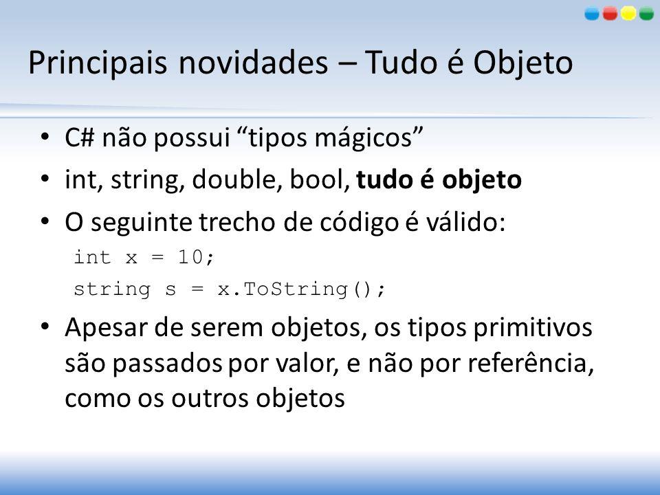 Principais novidades – Tudo é Objeto C# não possui tipos mágicos int, string, double, bool, tudo é objeto O seguinte trecho de código é válido: int x