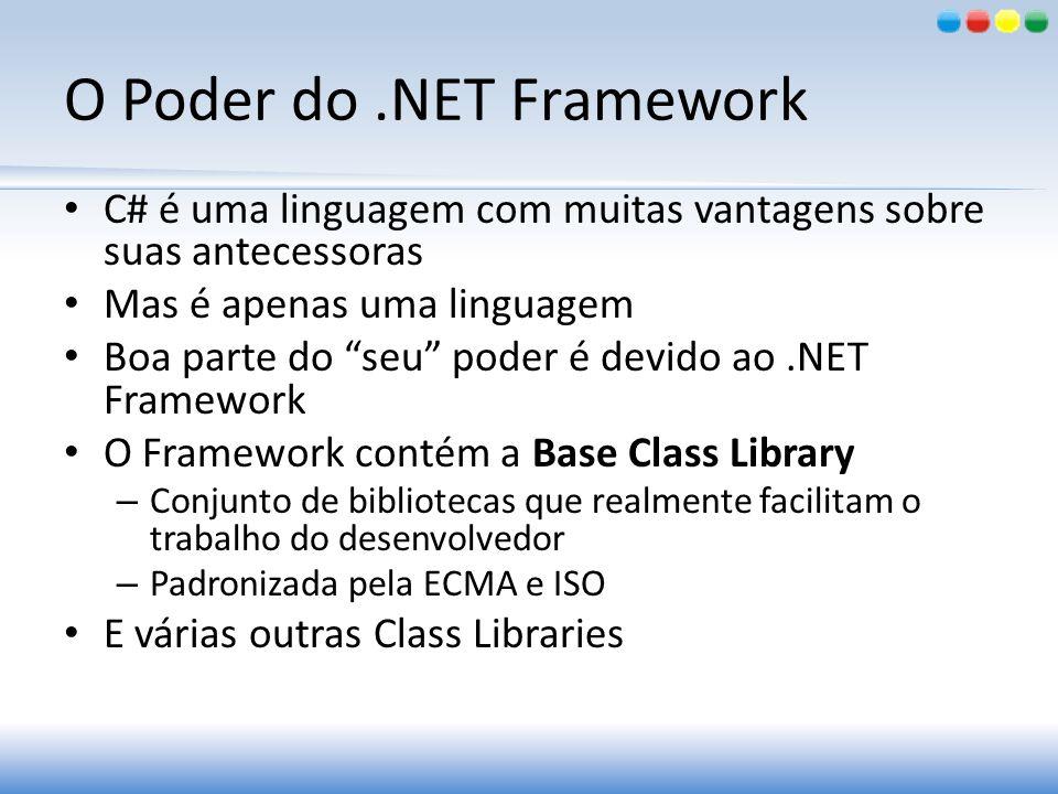 O Poder do.NET Framework C# é uma linguagem com muitas vantagens sobre suas antecessoras Mas é apenas uma linguagem Boa parte do seu poder é devido ao