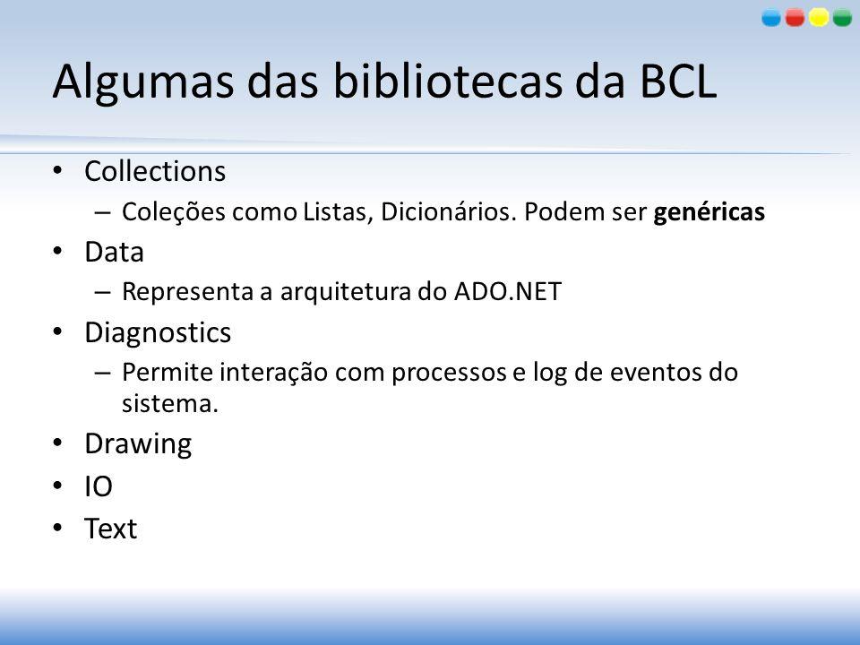 Algumas das bibliotecas da BCL Collections – Coleções como Listas, Dicionários. Podem ser genéricas Data – Representa a arquitetura do ADO.NET Diagnos
