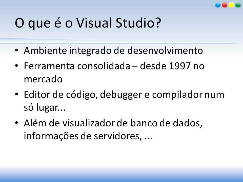 O que é o Visual Studio? Ambiente integrado de desenvolvimento Ferramenta consolidada – desde 1997 no mercado Editor de código, debugger e compilador