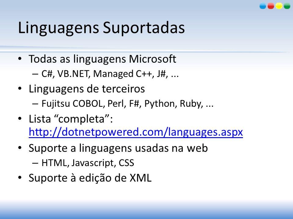 Linguagens Suportadas Todas as linguagens Microsoft – C#, VB.NET, Managed C++, J#,... Linguagens de terceiros – Fujitsu COBOL, Perl, F#, Python, Ruby,