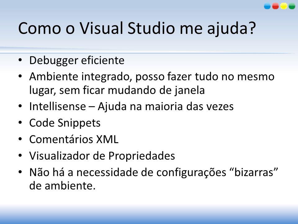 Como o Visual Studio me ajuda? Debugger eficiente Ambiente integrado, posso fazer tudo no mesmo lugar, sem ficar mudando de janela Intellisense – Ajud