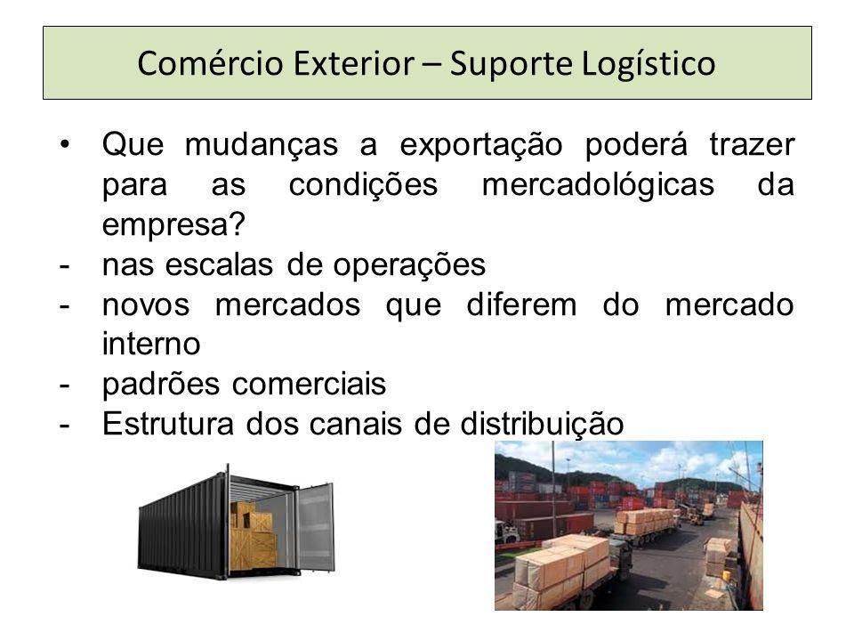 Comércio Exterior – Suporte Logístico Que mudanças a exportação poderá trazer para as condições mercadológicas da empresa? -nas escalas de operações -