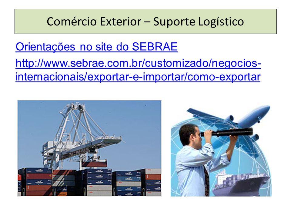 Comércio Exterior – Suporte Logístico Orientações no site do SEBRAE http://www.sebrae.com.br/customizado/negocios- internacionais/exportar-e-importar/