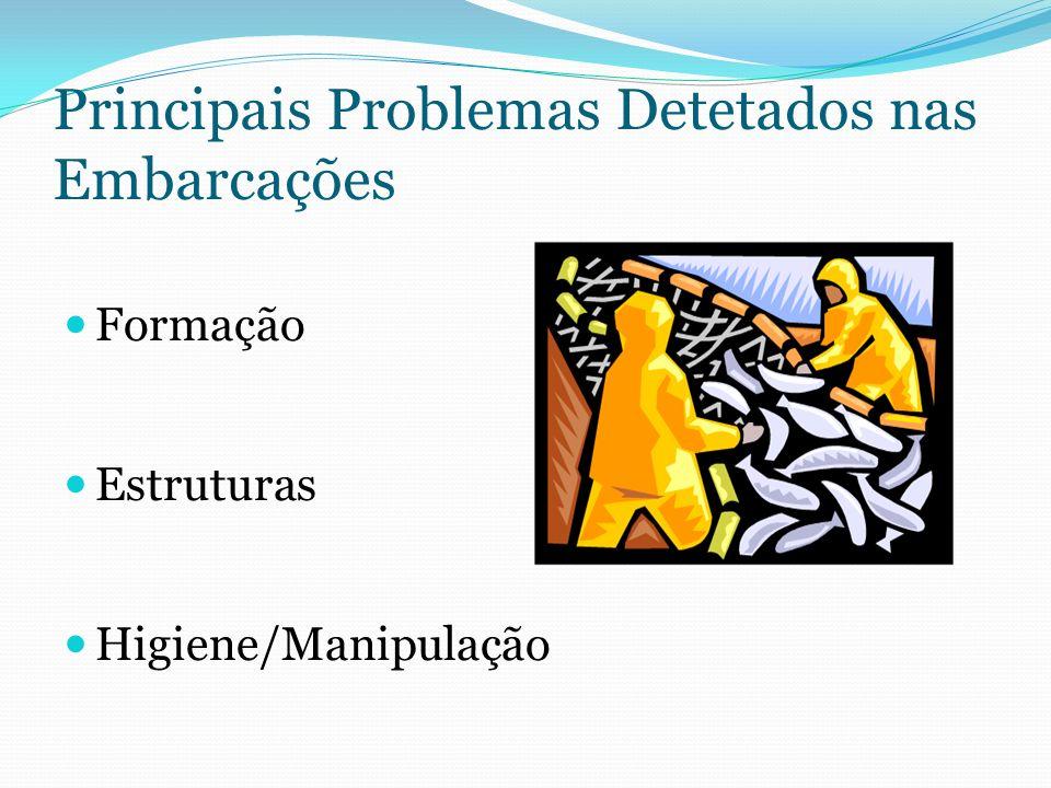 Principais Problemas Detetados nas Embarcações Formação Estruturas Higiene/Manipulação